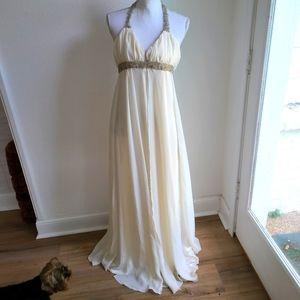 Ivory Grecian Style Chiffon Wedding Dress XS